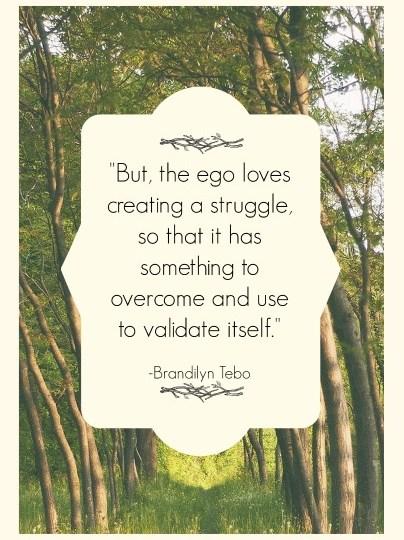 Quote - Ego Loves Struggle by Brandilyn Tebo