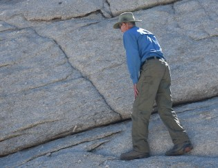Jim working his way up the granite slope to the top of Lembert Dome