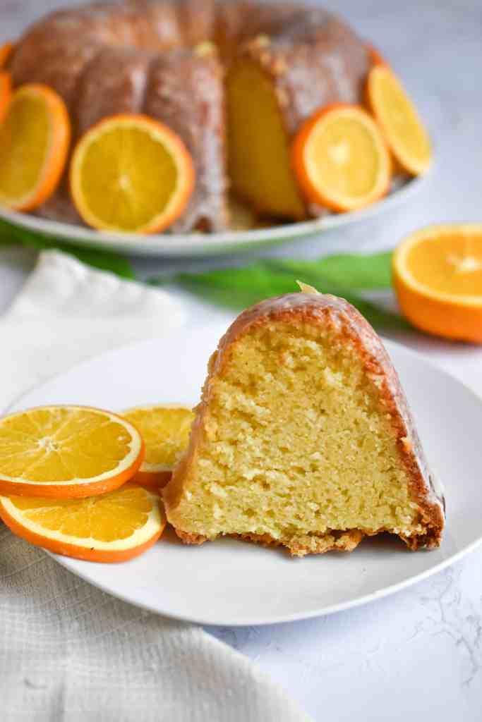 Orange Bundt Cake Slice