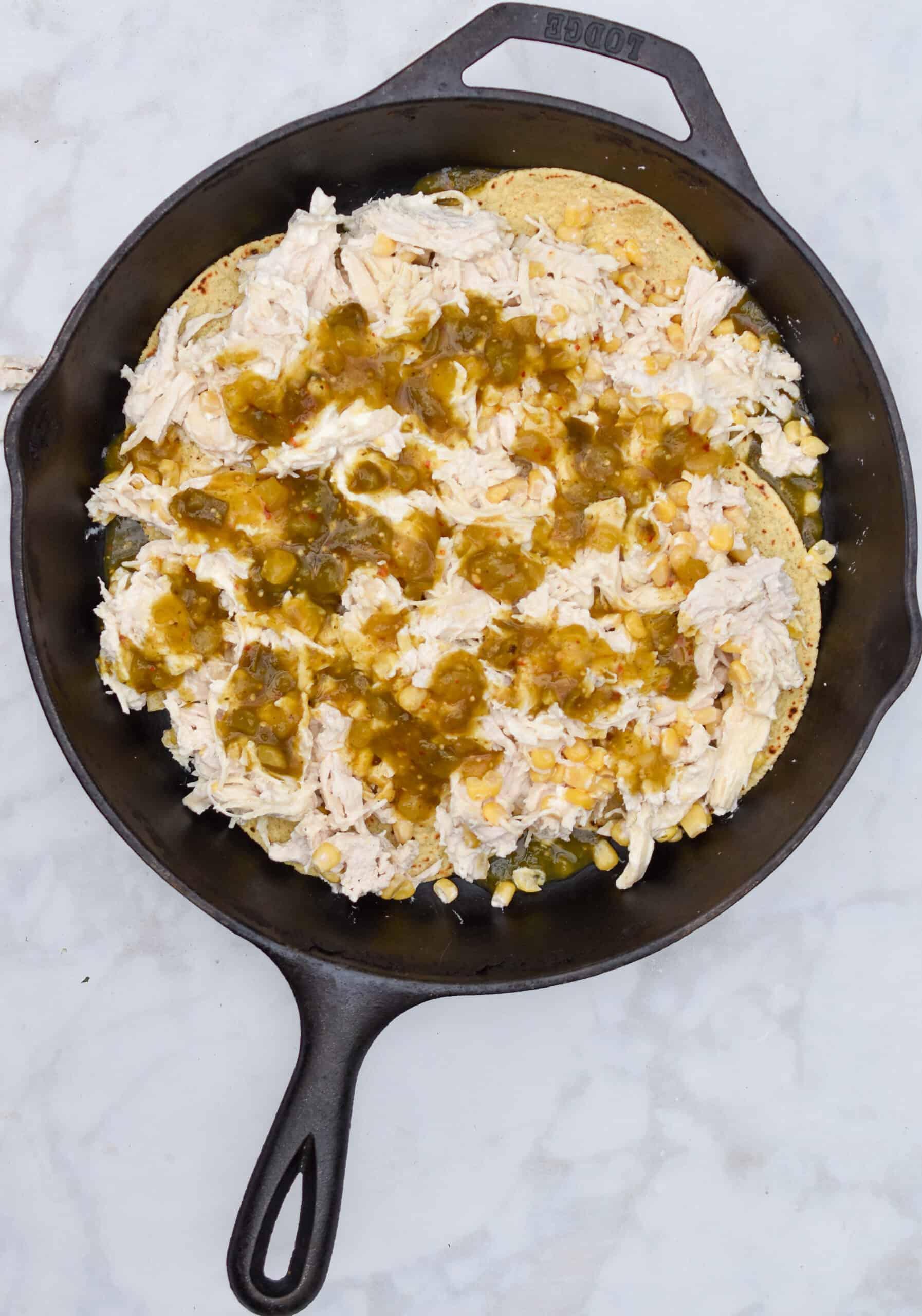 Add the chicken mixture and salsa verde