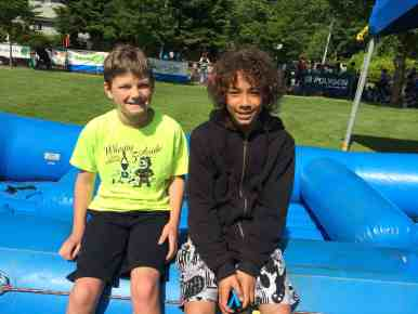 Our first two contestants in the SuperKids Obstacle course.