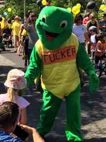 Tucker the Turtle presses some flesh.