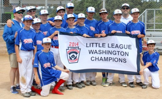 Pacific Little League poses with its state championship banner.