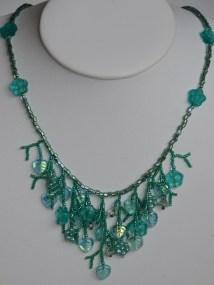 Aqua fringe necklace