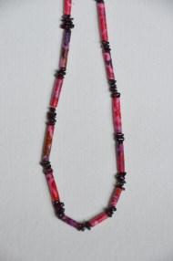 Batik and garnet necklace