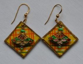 Decoupage and cloisonne earrings