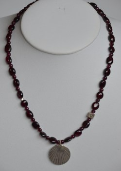 Garnet necklace with sterling silver pendant and accent beads