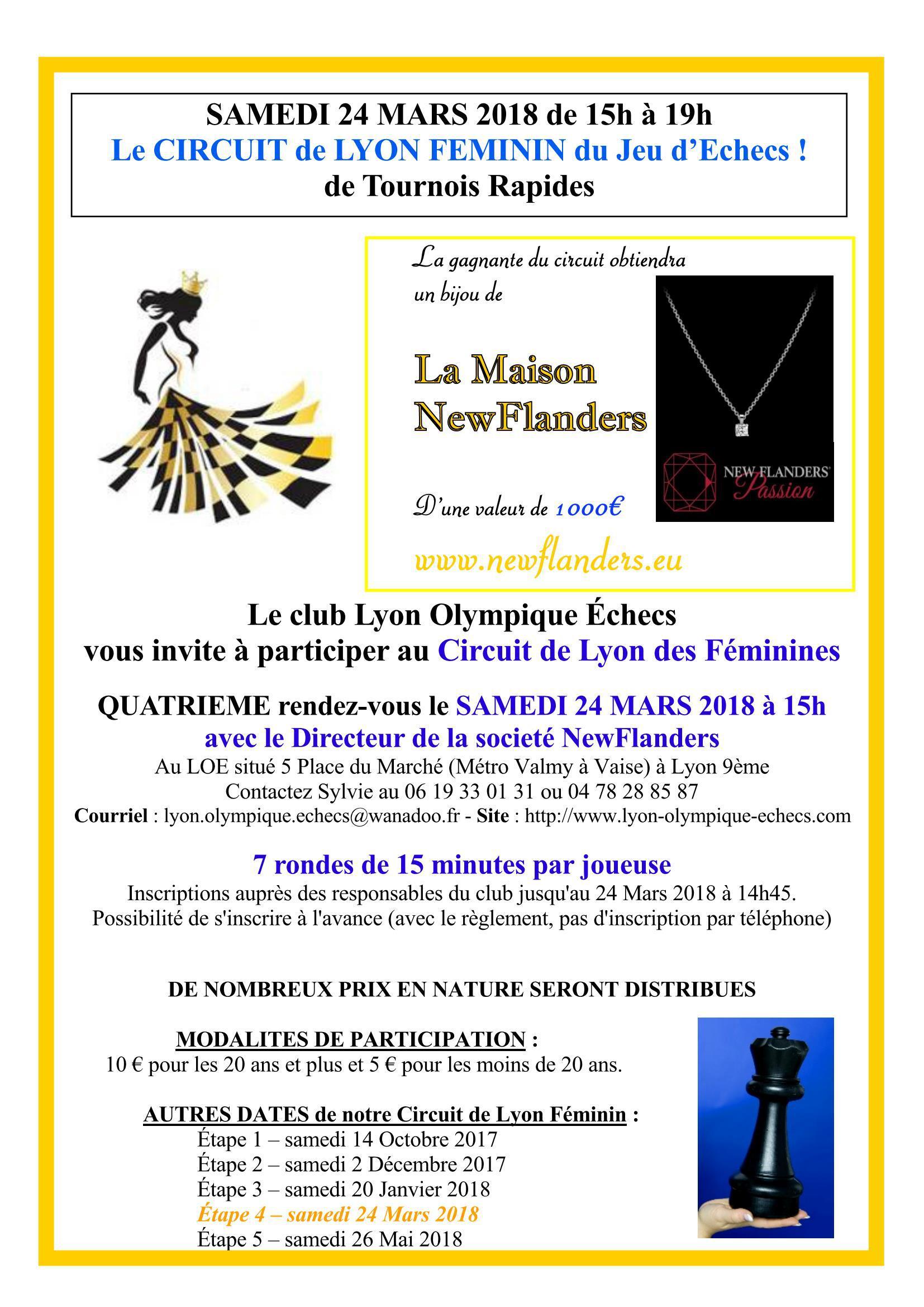 4ème étape du Circuit Féminin de Lyon ce samedi 24 mars à 15h au LOE ! Et un tournoi ouvert à tous simultanément !