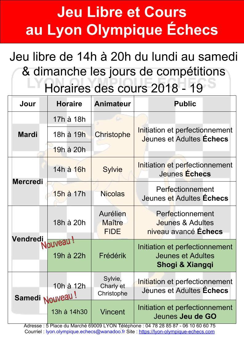 Cours jeunes et adultes au Lyon Olympique Échecs : la reprise est imminente et débute le mardi 4 septembre 2018 !