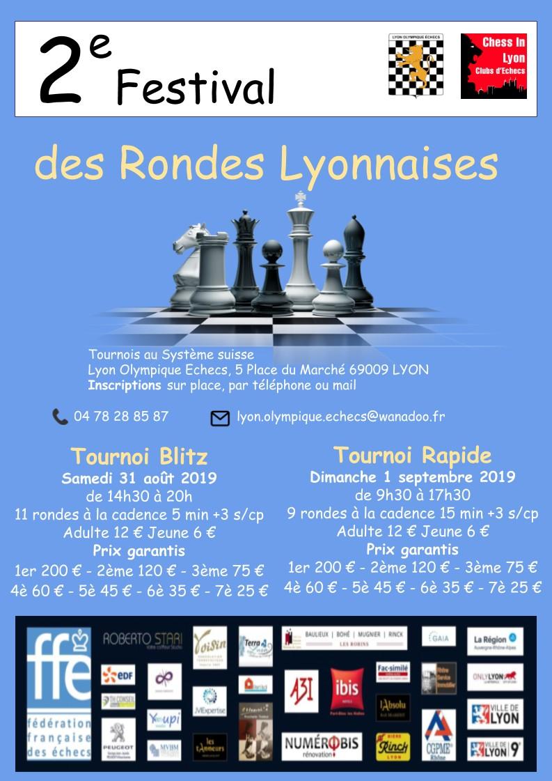 FESTIVAL des RONDES LYONNAISES Blitz et Rapide 31 aout & 1er septembre 2019