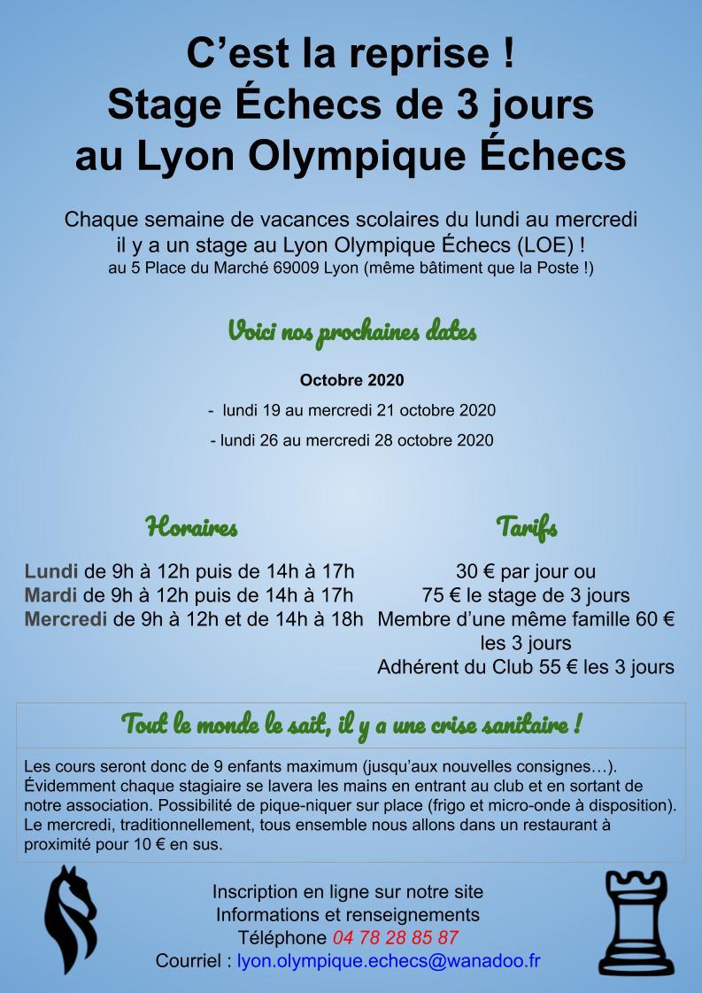 Affiches stages du Lyon Olympique Échecs