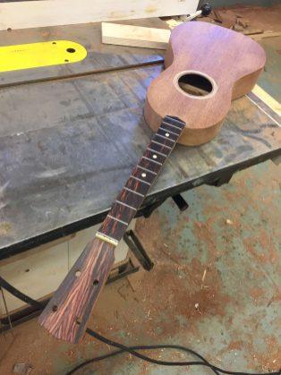 fretboard glued on