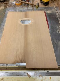 cedar gop with over-sanded rosette, dammit