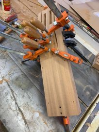 gluing head and neck - huge waste of mahogany - I'll cure it next time