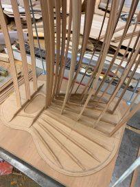 gluing 9 fan braces plus ladder braces