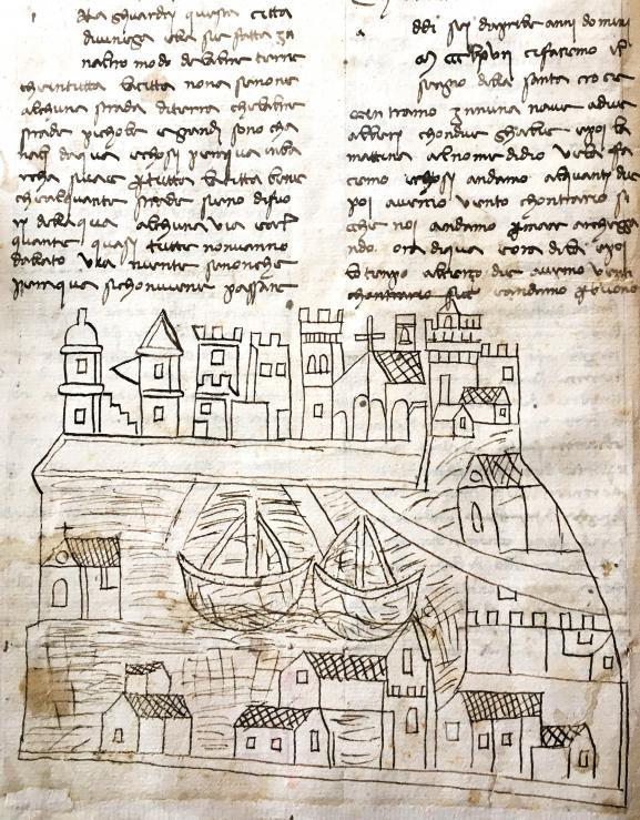 Le dessin considéré comme la plus ancienne vue de la ville de Venise.  (AFP PHOTO / MINISTRY OF CULTURAL ACTIVITIES OF HERITAGE AND TOURISM)