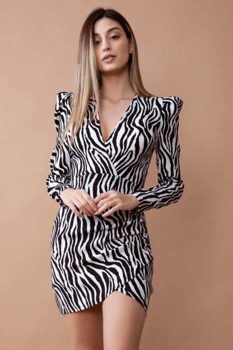 vestido cebra corto