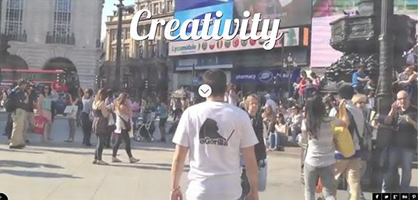 eGorilla in 50 Creative Full Screen Video Background Websites