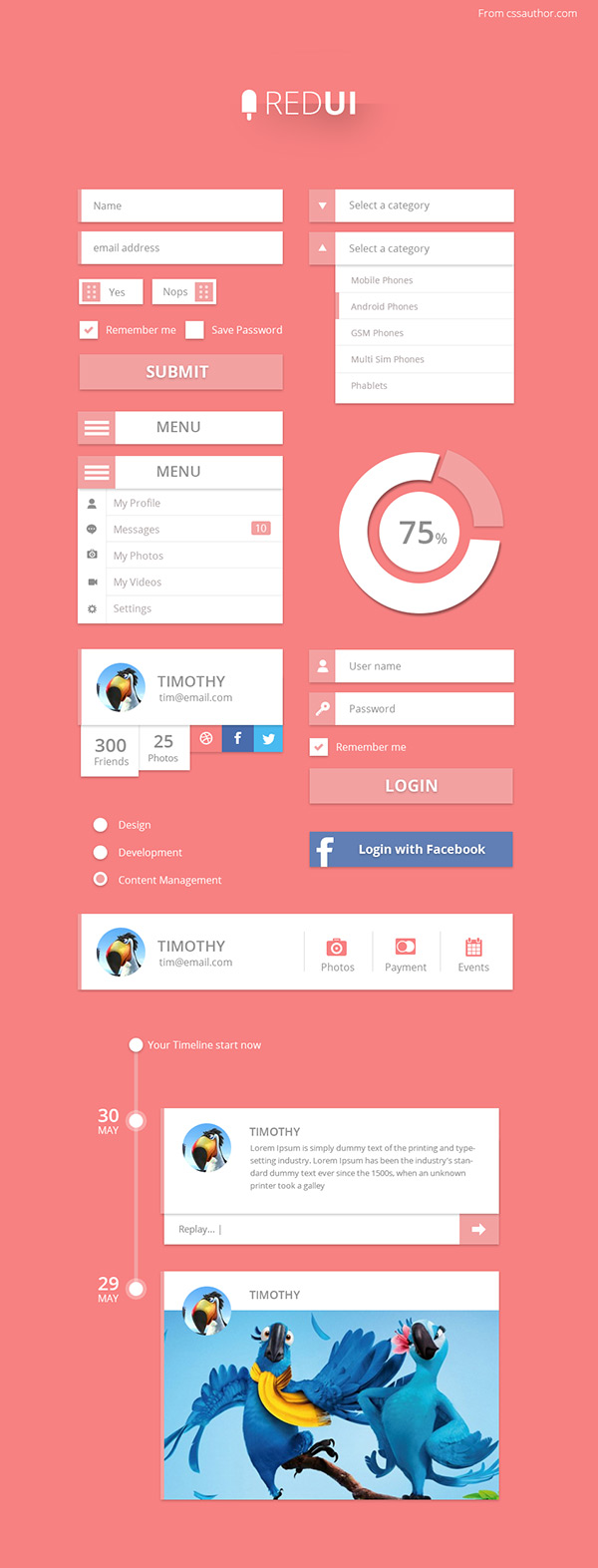Red UI by Arun in 35 Fresh, Free and Flat UI Kits