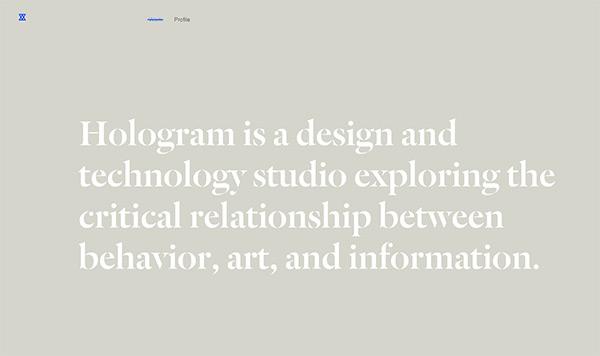Hologram Studio in 45 Modern Minimal Websites
