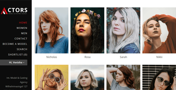 Actors - Modelling Agencies   Fashion Consultancies WordPress Theme