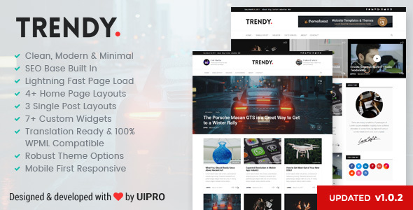 Trendy Pro - Premium Personal Blog WordPress Theme
