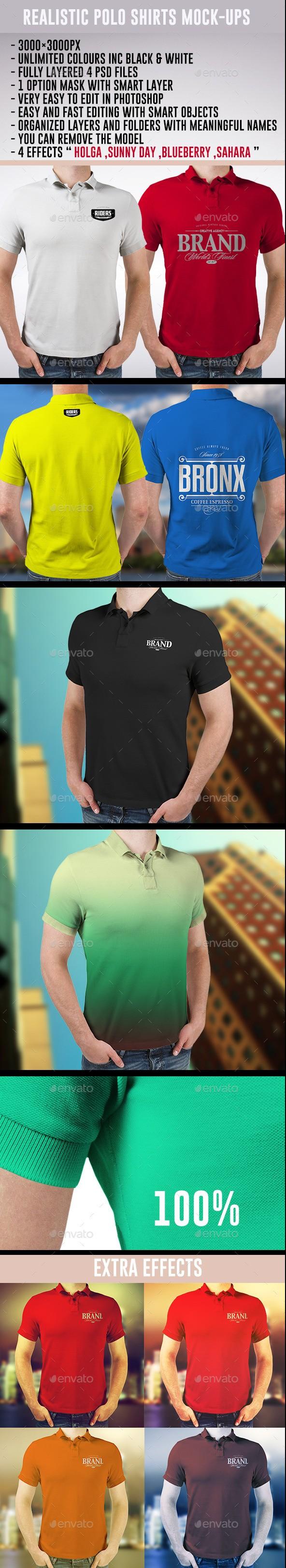 Realistic Polo Shirts Mockups