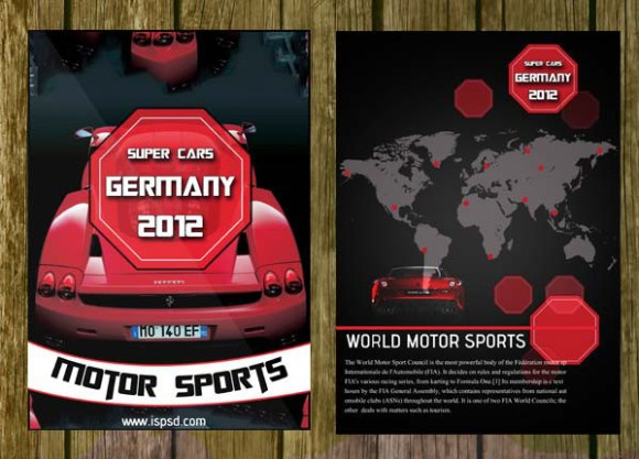 Bi-Fold Automobile Brochure Template PSD
