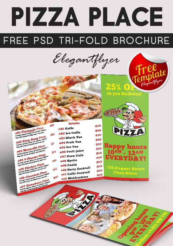 Free Tri-Fold Pizza Place Brochure PSD Template