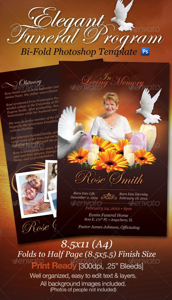 Funeral Program Brochure Template