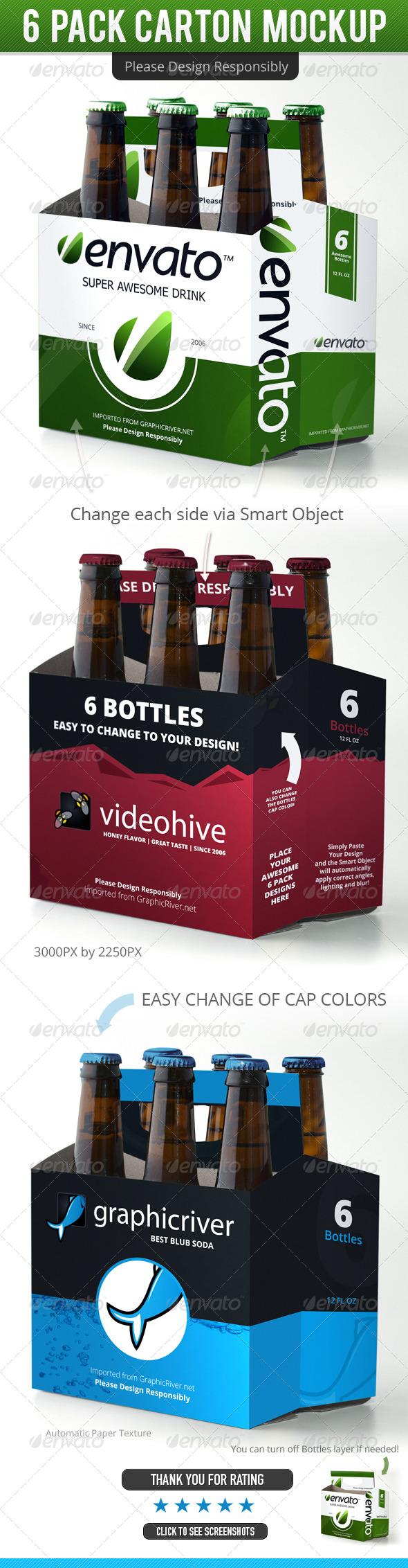 6 Pack Beer Carton Mockup