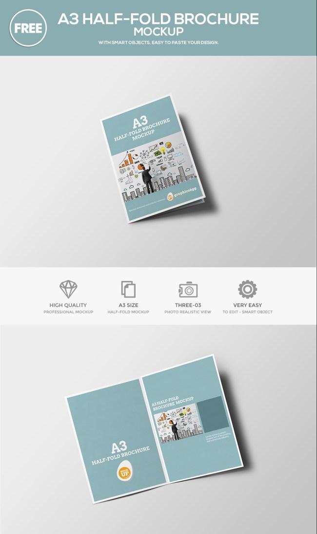 Free Half-Fold Brochure Mockup