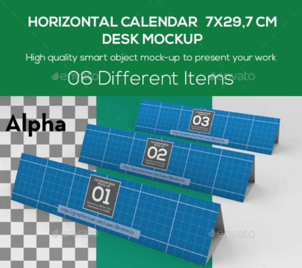 Horizontal Calendar Desk Mockup