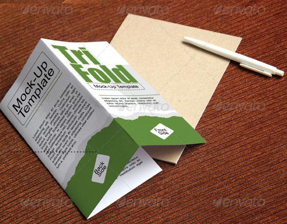 Photorealistic Tri-fold Brochure Mockup