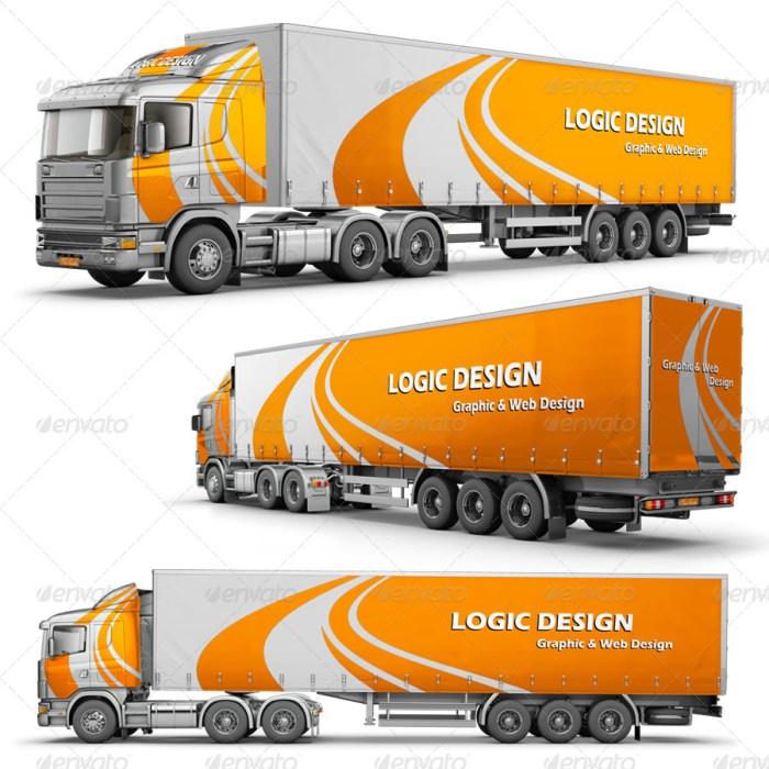 Semi-Trailer Truck Mockup