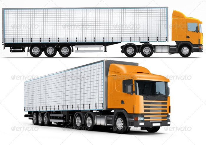 Trailer, Road train, large Truck mockup