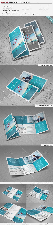 Trifold Brochure Mock-Up Set