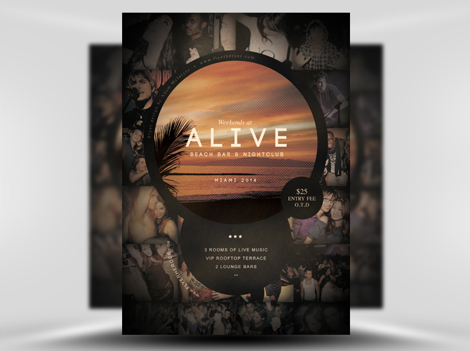 Alive Bar Free Flyer Template