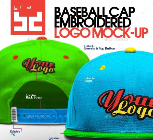 Baseball Cap - Embroidered Logo Mockup