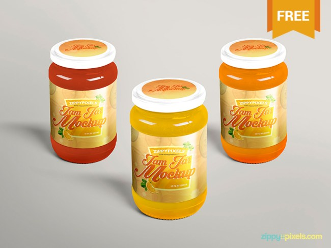 Free Beautiful Jam Jar Mockup