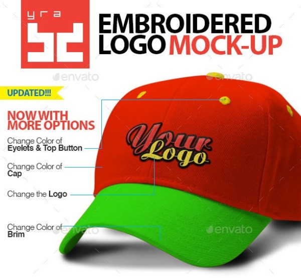 Polo Cap Mockup with Embroidered Logo