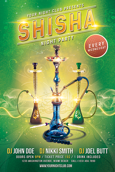 Shisha Party Flyer Free PSD Template