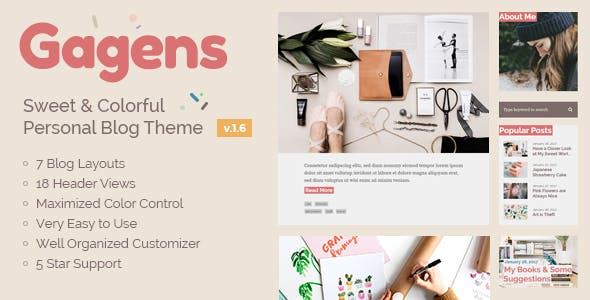 Gagens - Sweet & Colorful Personal Blog Theme