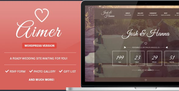 Aimer - Wedding WordPress Theme For Lovers