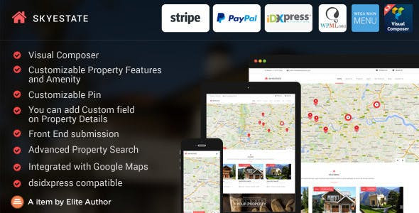 Skyestate - Real Estate with Front end Submission WordPress Theme