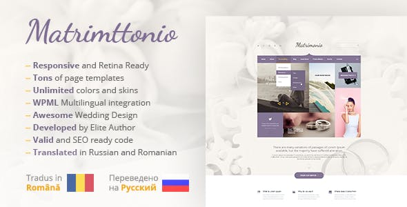 Matrimonio - Ceremony & Wedding WordPress Theme