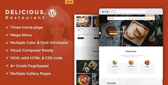 Delicious - Table Booking / Restaurant WordPress Theme