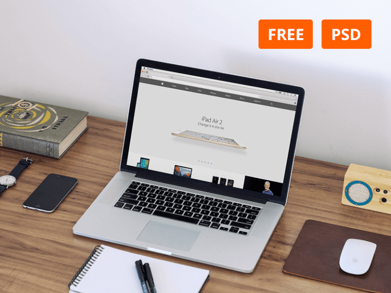 Free Macbook Workspace Mockup