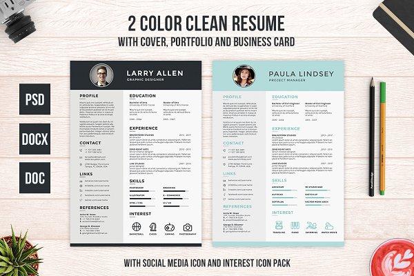 Clean Resume, Cover and Portfolio