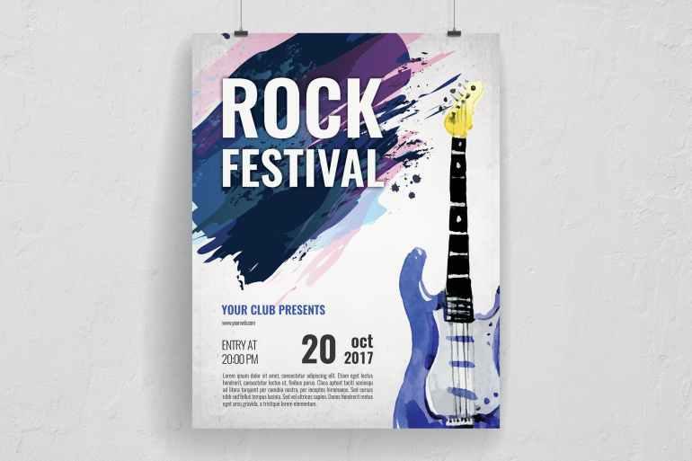Watercolor Brushed Rock Festival Flyer